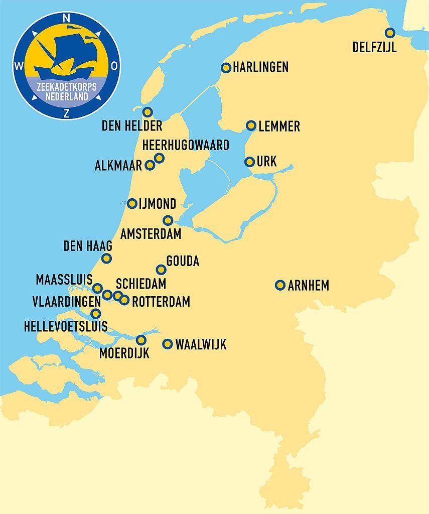 Overzicht van Zeekadetkorpsen in Nederland