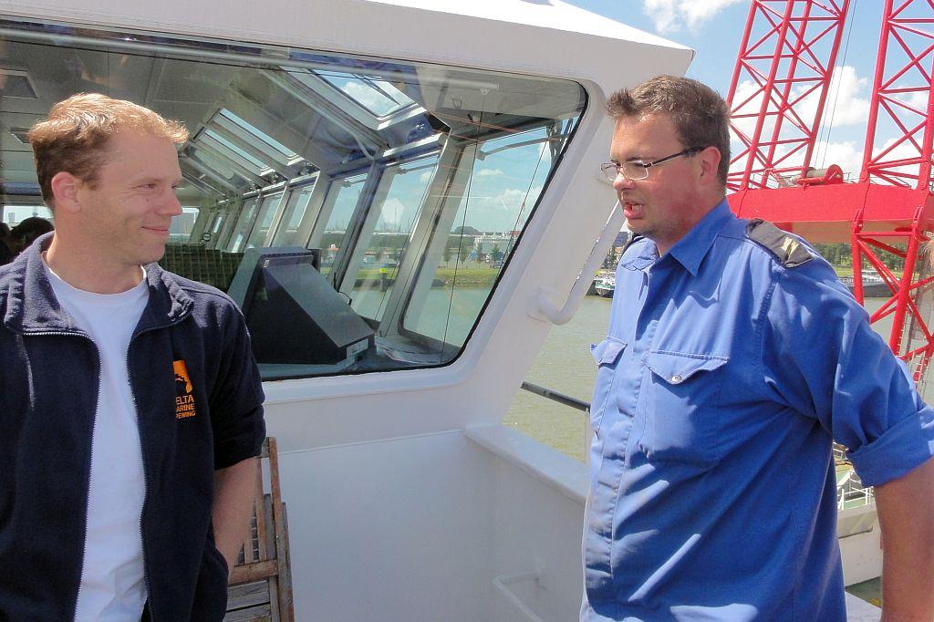 Met de Rotterdamse zeekadetten op excursie op het zelfvarend kraanponton Rambiz.
