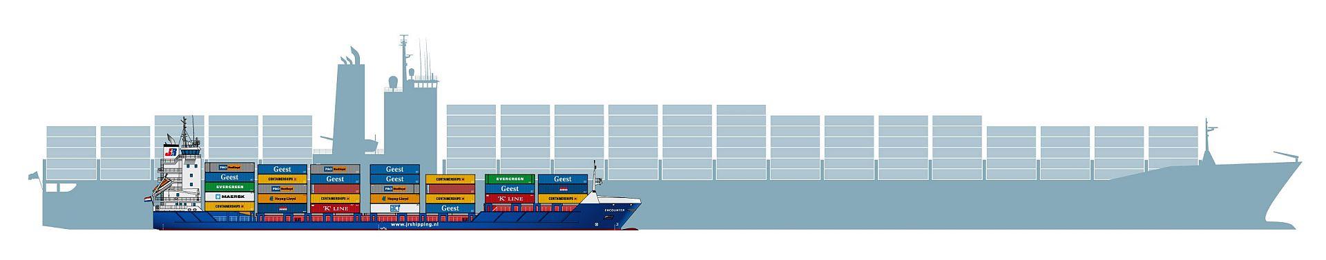 Een containerfeeder naast een containerschip dat de oceanen oversteekt.